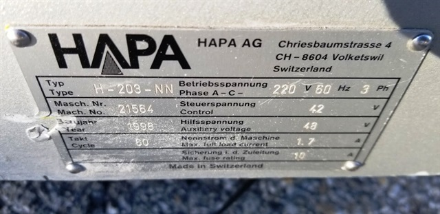 Hapa Matic Printer-Model H-203-NN